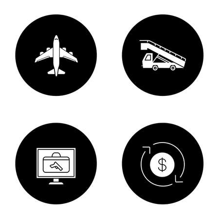 Airport service glyph icons set. Airplane, stair truck, baggage scanner, dollar currency exchange. Vector white silhouettes illustrations in black circles