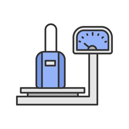 Icono de color de escalas de equipaje. Comprobación del peso del equipaje. Ilustración de vector aislado Ilustración de vector