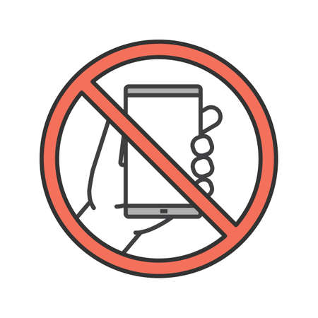Forbidden sign with mobile phone color icon. No smartphone prohibition. Stop. Isolated vector illustration