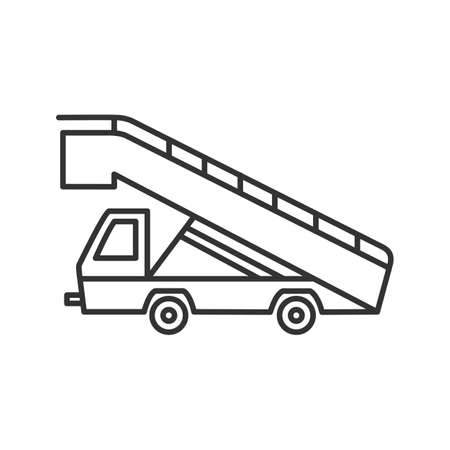 Stair truck linear icon. Thin line illustration. Airstair. Passenger gangway. Contour symbol. Vector isolated outline drawing Illustration