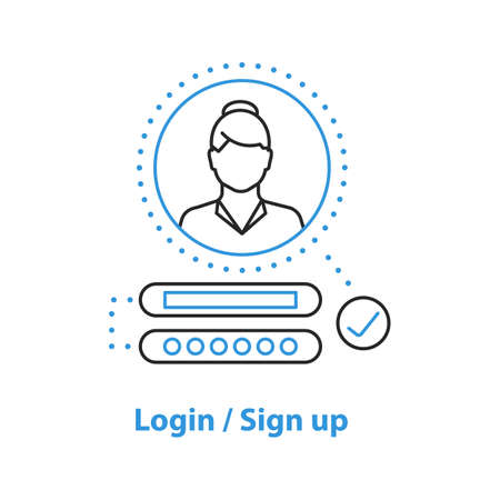Users account concept icon. Login idea thin line illustration. Authorization. Vector isolated outline drawing