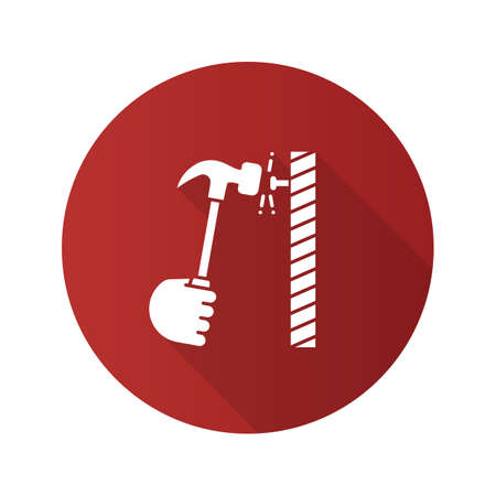 Hand hammering nail flat linear long shadow icon. Builders hand. Vector outline symbol