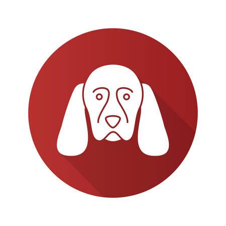Cocker Spaniel flat design long shadow glyph icon. Gundog breed. Vector silhouette illustration