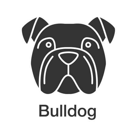 Englische Bulldogge Glyphenikone. Gebrauchshundezucht. Schattenbildsymbol. Negativer Raum. Vektor isolierte Illustration