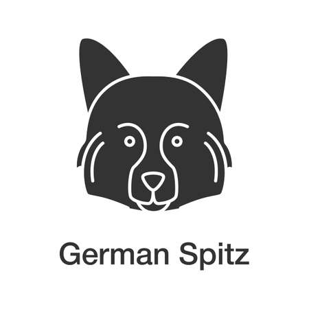 German Spitz glyph icon. Hunting dog breed. Silhouette symbol. Negative space. Vector isolated illustration