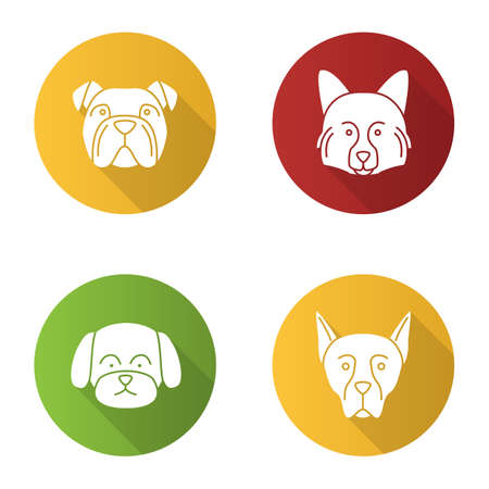 Dogs breeds flat design long shadow glyph icons set. English bulldog, German Spitz, Maltese, Doberman Pinscher.Vector silhouette illustration