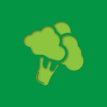Broccoli branch paper cut out icon. Cauliflower. Vector silhouette isolated illustration