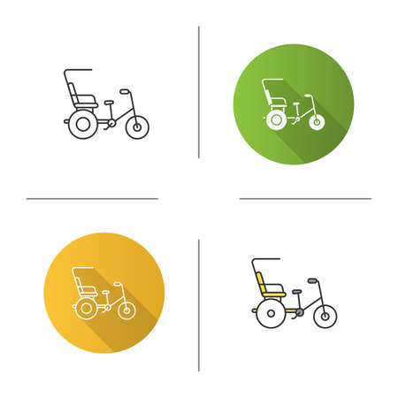 Cycle rickshaw icon. Velotaxi, pedicab. Flat design, linear and color styles. Isolated vector illustrations Illustration