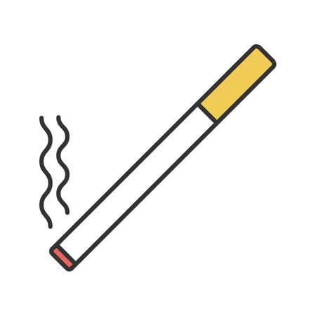 Icona di colore della sigaretta accesa. Area fumatori. Illustrazione vettoriale isolato Vettoriali