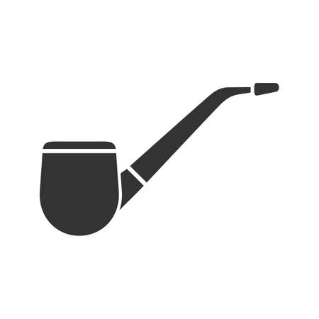 Tobacco pipe glyph icon. Silhouette symbol. Negative space. Vector isolated illustration Vectores