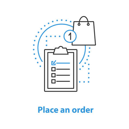 Order placing concept icon. Shopping idea thin line illustration. Merchandise. Vector isolated outline drawing
