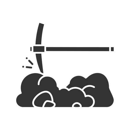 Wybierz ikonę glifu, łamanie kamieni i siekierę. Symbol sylwetki. Górnictwo. Pick Navvy. Negatywna przestrzeń. Ilustracja wektorowa na białym tle