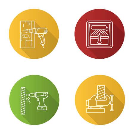 Conjunto de iconos planos lineales de larga sombra de herramientas de construcción. Pistola de aire caliente, rodillo de pintura en bandeja, destornillador eléctrico, tornillo de banco. Ilustración de contorno vectorial