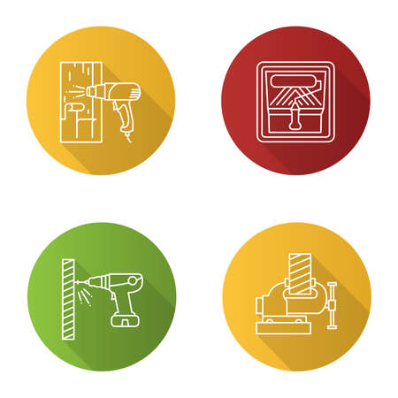 Construction tools flat linear long shadow icons set. Hot air gun, paint roller in tray, electric screwdriver, bench vice. Vector outline illustration