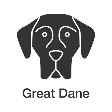 Great Dane glyph icon. German Mastiff. Guardian dog breed. Silhouette symbol. Negative space. Vector isolated illustration Ilustração