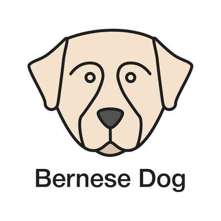 Bernese Mountain dog color icon. Sennenhund dog. Isolated vector illustration Stock Illustratie