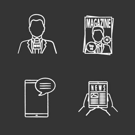Mass media chalk icons set. Press. TV presenter, magazine, chatting, electronic newspaper. Isolated vector chalkboard illustrations 일러스트