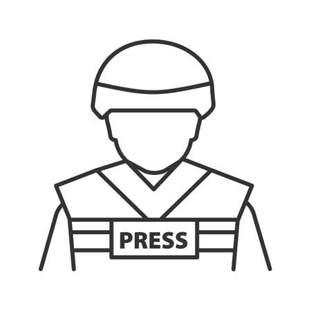 War correspondent linear icon. Thin line illustration. Military journalist. Contour symbol. Vector isolated outline drawing