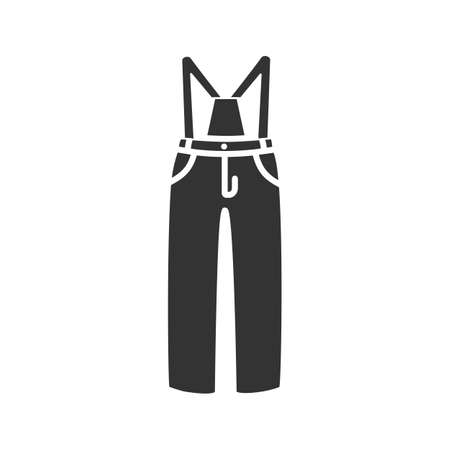Ski pants glyph icon. Winter overall. Bib-and-brace. Silhouette symbol. Negative space. Vector isolated illustration