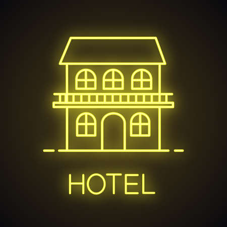 Two storey cottage neon light icon. Chalet. House. Glowing sign. Vector isolated illustration