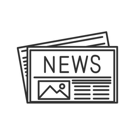Newspaper linear icon. Thin line illustration. Periodical publication. Contour symbol. Vector isolated outline drawing