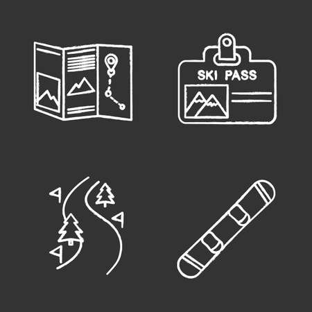 Winter activities chalk icons set. Paper map, ski pass badge, forest road, snowboard. Isolated vector chalkboard illustrations