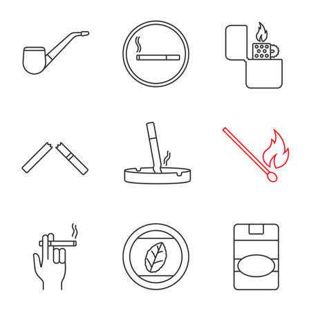 Smoking linear icons set. Tobacco leaf, pipe, smoking, lighter, broken and stubbed out cigarettes, matchstick, smoker, cigarette pack. Thin line contour symbols. Isolated vector outline illustrations Vettoriali