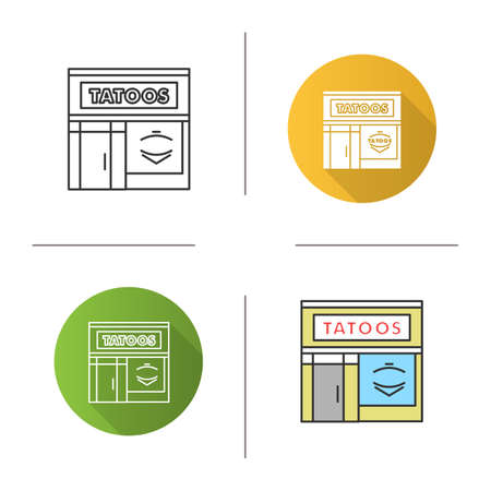 Tattoo studio facade icon. Tattoo parlour exterior. Flat design, linear and color styles. Isolated vector illustrations