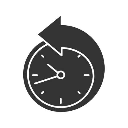 Back arrow around clock glyph icon. Counterclockwise. Reschedule. Silhouette symbol. Negative space. Vector isolated illustration Stock Illustratie