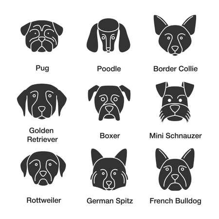 Dogs breeds glyph icons set. Pug, poodle, Border Collie, Golden Retriever, boxer, Miniature Schnauzer, Rottweiler, German Spitz, French Bulldog. Silhouette symbols. Vector isolated illustratio
