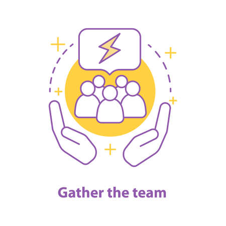 Team gathering concept icon. Teamwork idea thin line illustration. Cupped hands with people inside. Vector isolated outline drawing Illustration
