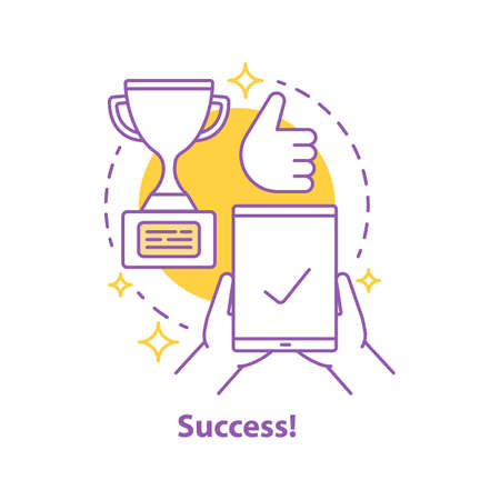 Win concept icon. Success idea thin line illustration. Goal achieving. Vector isolated outline drawing