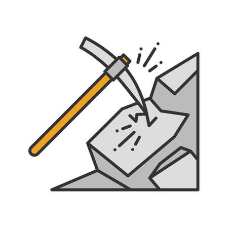 Pickaxe breaking mountain color icon. Mining. Navvy pick. Isolated vector illustration