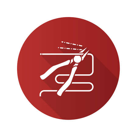 Nippers, pincers, tongs, pliers flat linear long shadow icon. Gripping tongs cutting wire. Vector outline symbol