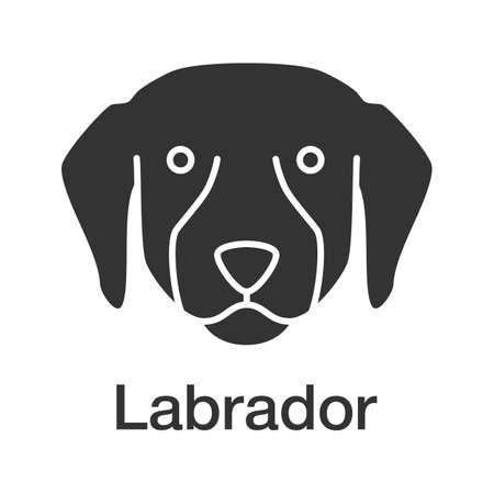 Labrador Retriever glyph icon. Lab. Guide dog breed. Silhouette symbol. Negative space. Vector isolated illustration