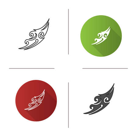 Tattoo image icon. Tattoo sketch. Flat design, linear and color styles. Isolated vector illustrations