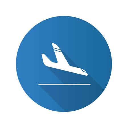 Icona del glifo con lunga ombra design piatto arrivo aereo. Atterraggio aereo. Illustrazione di sagoma vettoriale