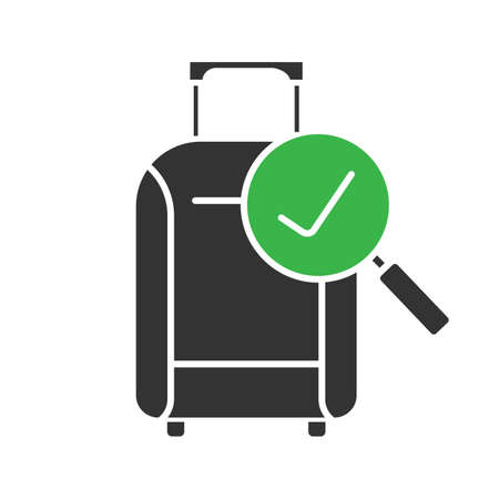 Baggage allowance glyph icon. Successful luggage check. Suitcase with checkmark. Silhouette symbol. Negative space. Vector isolated illustration