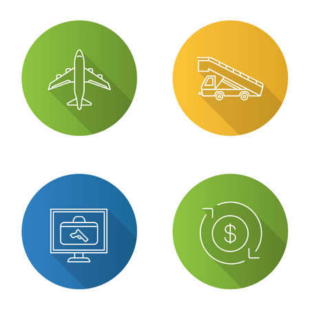 Airport service flat linear long shadow icons set. Airplane, stair truck, baggage scanner, dollar currency exchange. Vector outline illustration