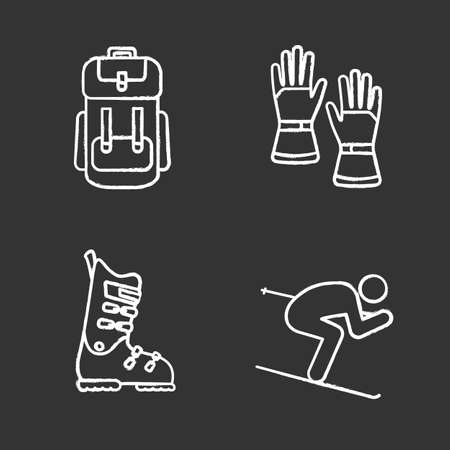Winter activities chalk icons set. Backpack, skiing gloves and boots, skier. Isolated vector chalkboard illustrations
