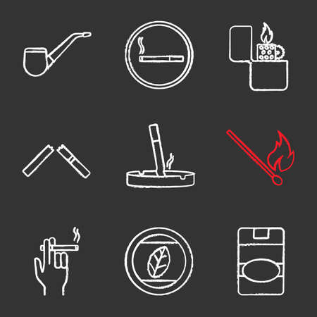 Smoking chalk icons set. Tobacco leaf and pipe, smoking area, flip lighter, broken and stubbed out cigarettes, matchstick, smoker's hand, cigarette pack. Isolated vector chalkboard illustrations