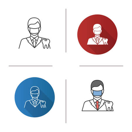 Dentist icon. Dental specialist. Man in surgical face mask with tooth. Flat design, linear and color styles. Isolated vector illustrations