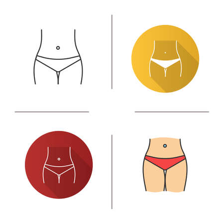 Slim woman waist icon. Bikini zone. Navel piercing. Flat design, linear and color styles. Isolated vector illustrations