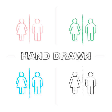 Public toilet information sign hand drawn icons set. Restroom. Male and female WC. Color brush stroke. Isolated vector sketchy illustrations