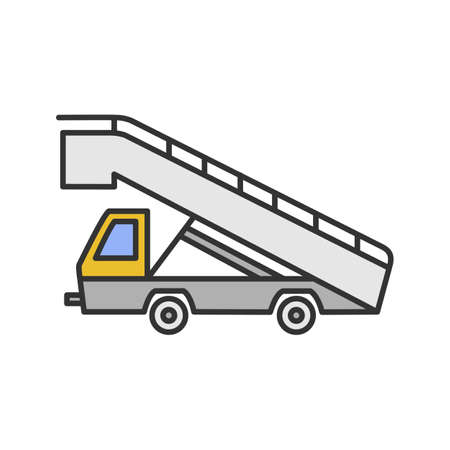 Stair truck color icon. Airstair. Passenger gangway. Isolated vector illustration