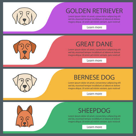 Dogs breeds web banner templates set. Website color menu items. Golden Retriever, Great Dane, Bernese dog, Shetland Sheepdog. Vector headers design concepts