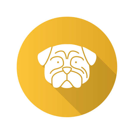 Pug flat design long shadow glyph icon. Mops. Companion dog breed. Vector silhouette illustration