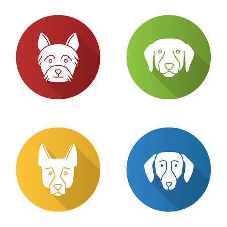 Dogs breeds flat design long shadow glyph icons set. Yorkshire Terrier, Labrador Retriever, German Shepherd, dachshund. Vector silhouette illustration
