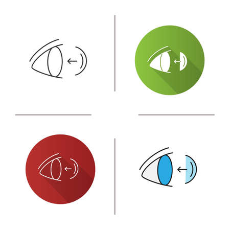 Eye contact lenses putting on icon. Flat design, linear and color styles. Isolated vector illustrations
