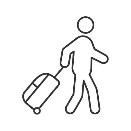 Persona con icona lineare del bagaglio. Illustrazione al tratto sottile. Turista, viaggiatore. Passeggeri. Simbolo di contorno.